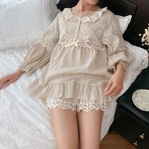 Image 4 - Summer Soft Linen Womens Pajamas Sets Sweet Shorts Pajamas Vintage Long Sleeve Sleepwear Autumn Nightwear Plus Size
