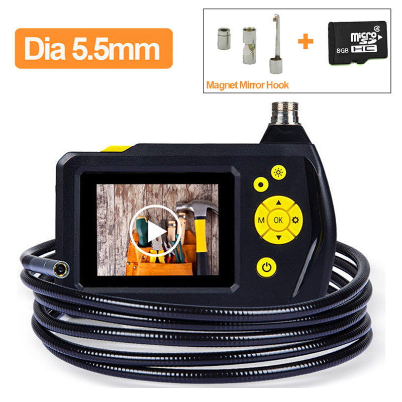 8GB NTS100 Endoscope 5.5mm Borescope Snake Inspection Camera 1M Cable +Hook/Mirror/Magnet Free shipping eyoyo nts100 dia 8 2mm 2 7 lcd nts100 endoscope borescope snake inspection 1m tube camera dvr