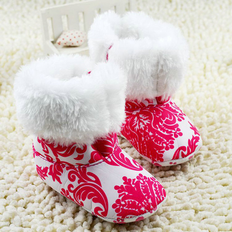 Winter Warm Baby Girls Ankle Snow Boots Infant Shoes Red Antiskid Shoes First Walkers