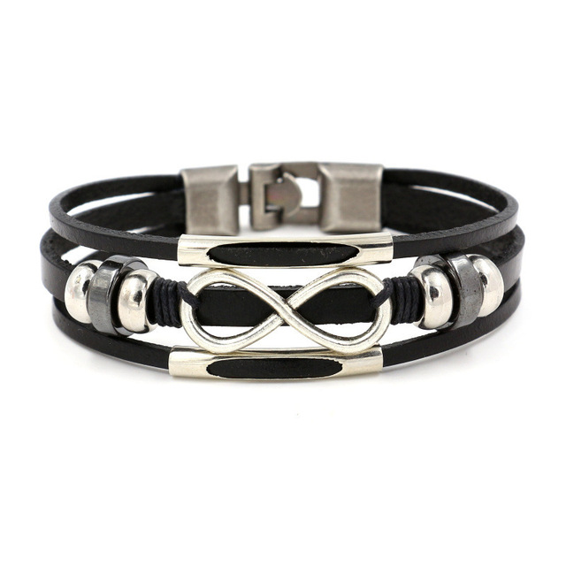 Western Punk Multilayer Leather Bracelet Letter Infiniti Charms Braclet For Men Boys Vintage Cuff Jewelry Pulseira