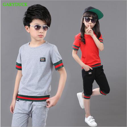 Summer baby Boys Girls Clothes Children Clothing Set Fashion Striped T shirt+ Capris Two-Piece Sport Suits 3 Colors Age 4-15Y 15 free shipping top striped dress children baby 3 pcs suit set girl s clothing sets girls sport suits chilren set