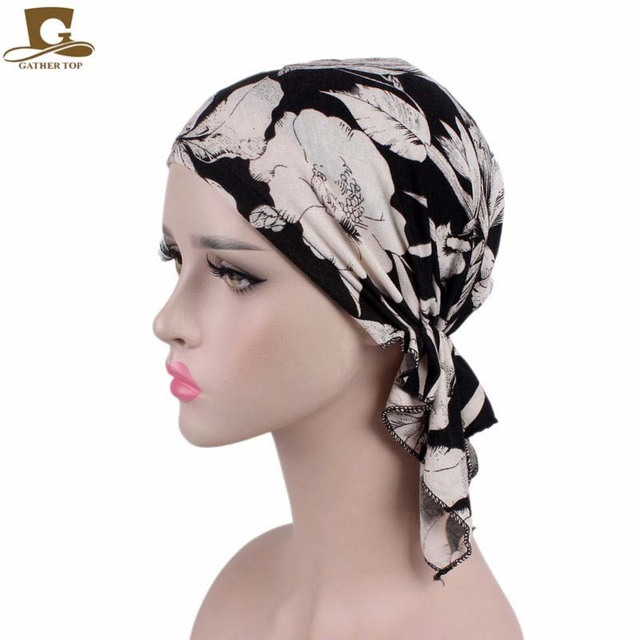 New Fashion Women Stretchy Turban Cotton Beanie Pre Tied Scarf Head Scarf  Chemo Hat Cancer Scarves 40328a7b8044