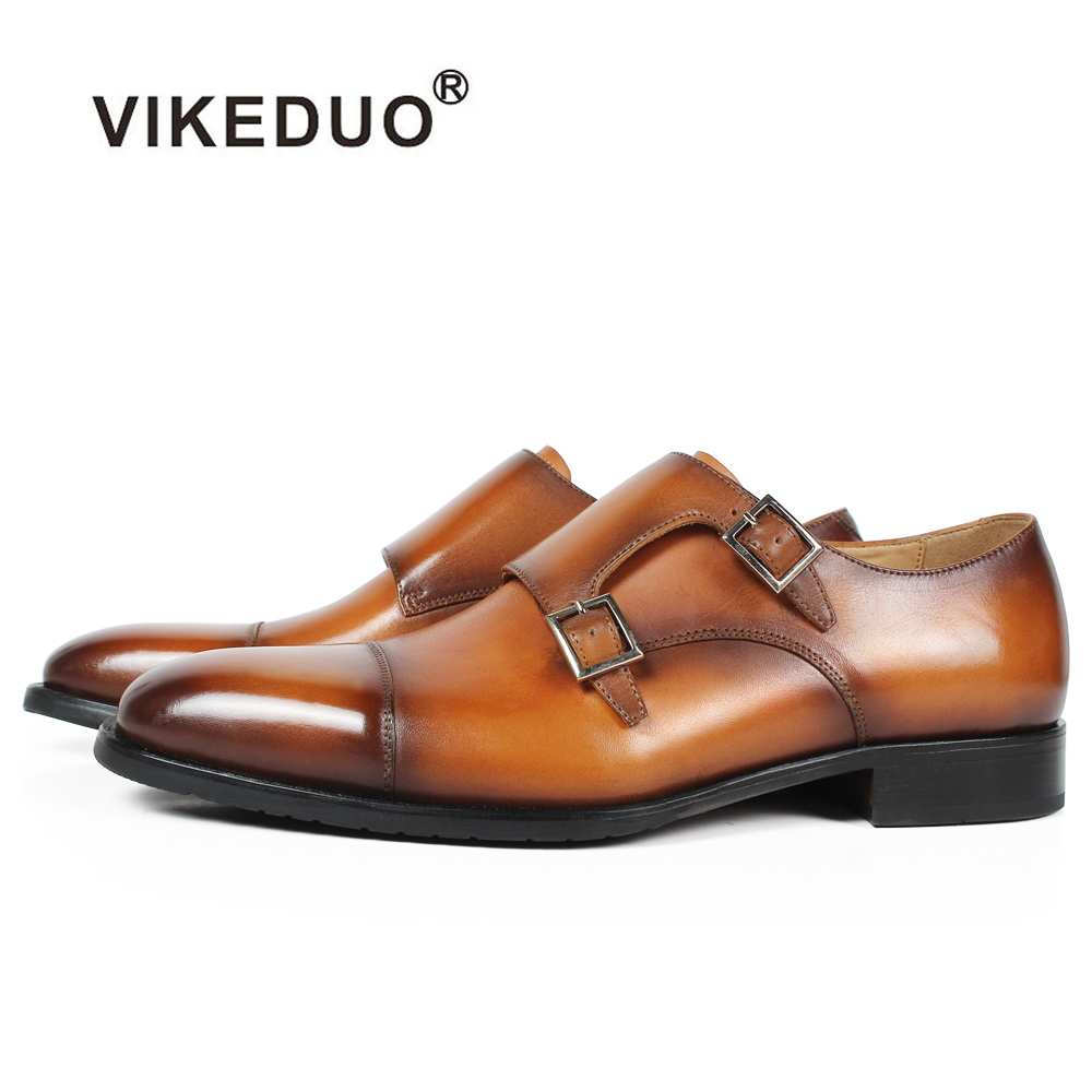 VIKEDUO Handmade Mans Footwear Patina Brown Double Monk Strap Dress Shoes For Men Genuine Cow Leather Square Wedding Formal Shoe