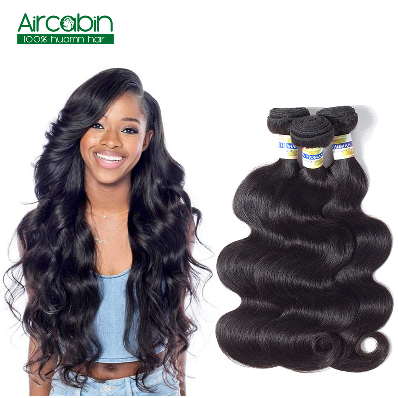 Brazilian Body Wave Bundles Human Hair Weave 3 Bundles AirCabin Remy Hair Extensions Natural Black Can Be Dyed and Bleached