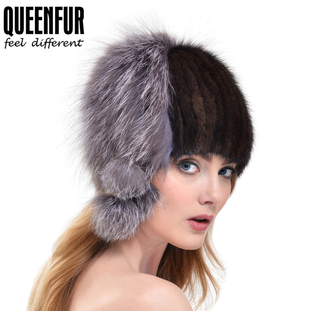 QUEENFUR Winter Women Genuine Mink Fur Skullies With Silver Fox Fur Ball Beanies 2016 New High Quality Warm Real Fur Lady Cap