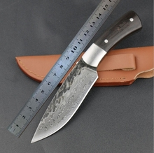 2016 Manual forging pattern steel hunting knife handle Outdoor High carbon pattern steel knife Camping high hardness