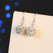 Silver Plated Crystal Women Earrings Long CZ Fashion Drop  Rhinestone Ball Ear Buckle Jewelry