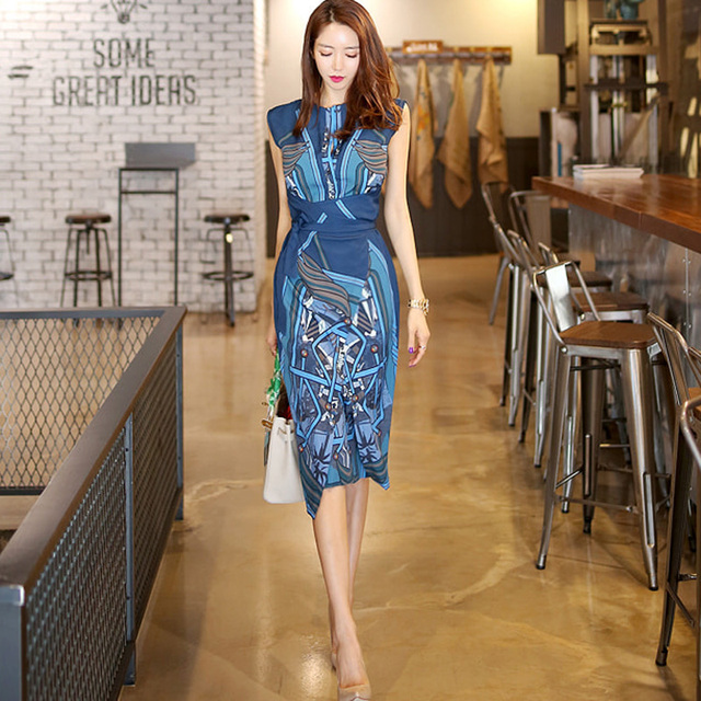 CBAFU japan korean dress summer women elegant slim work wear office business  printing casual bodycon dress party dress N479 14106c406885