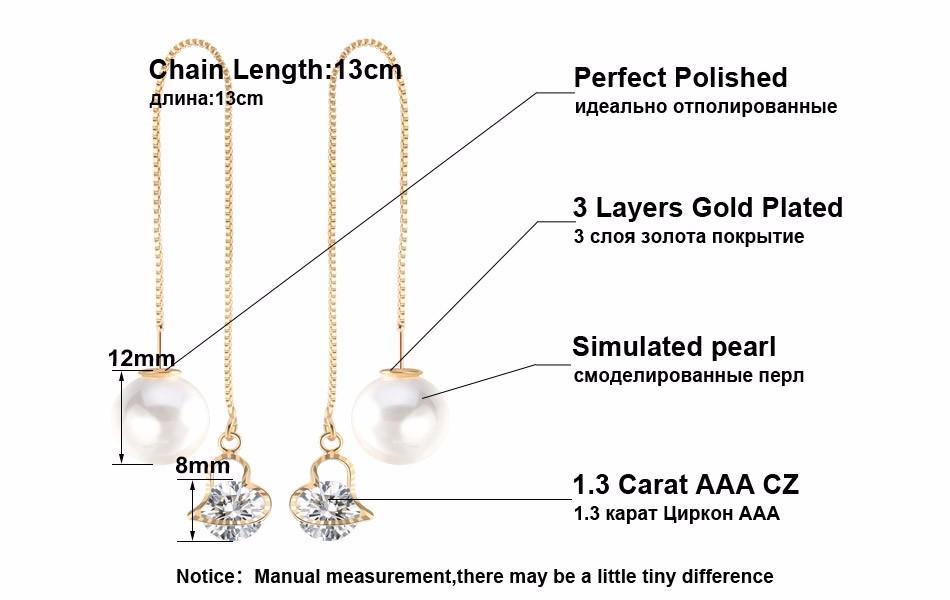 Effie Queen Fashion Cute Ear Wire Earrings Female Models Long Drop Crystal Imitation Pearl Jewelry Dangle Earrings Brincos DDE26 6