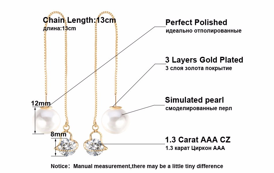 Effie Queen Fashion Cute Ear Wire Earrings Female Models Long Drop Crystal Imitation Pearl Jewelry Dangle Earrings Brincos DDE26 6