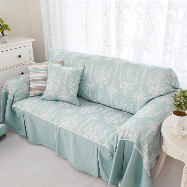 Europe style Light blue Sofa Cover Cotton Sofa Cover Floral Light ...