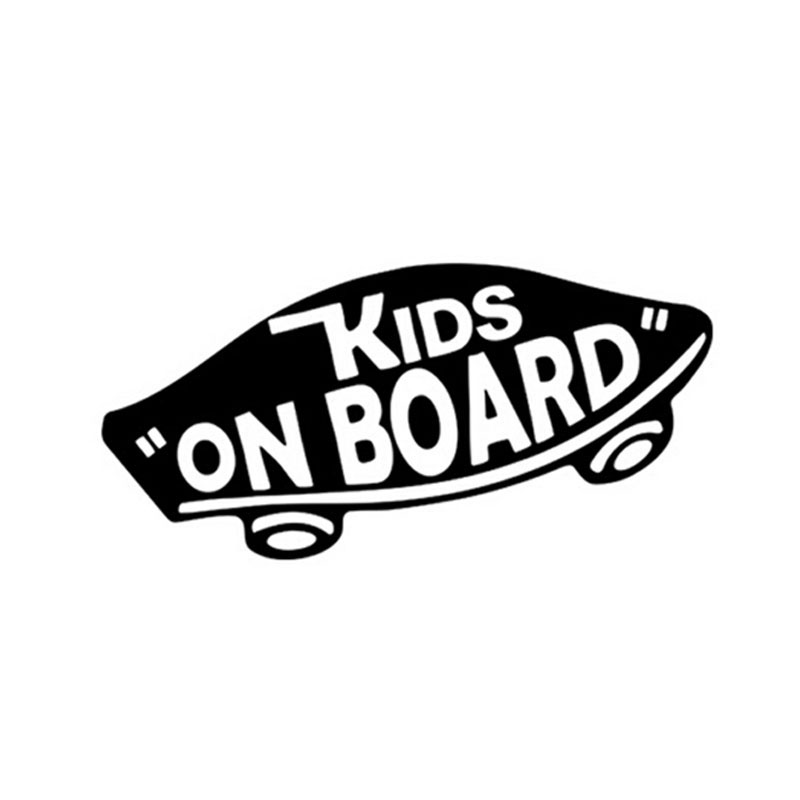 19*8CM KIDS ON BOARD Baby on Board Warning Sticker Decals Skateboard Motorcycle Car Stickers Black/Silver C1-0002