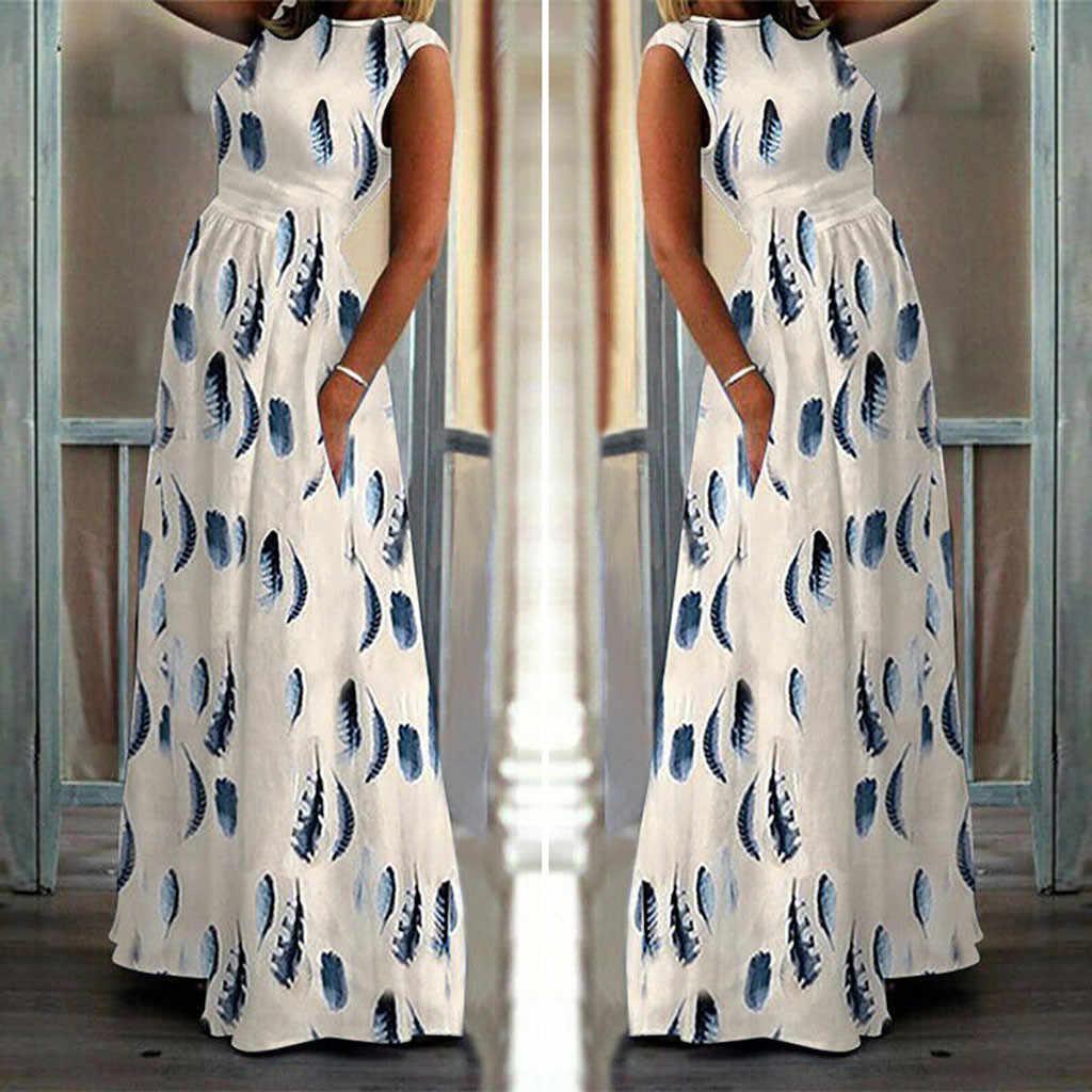 Sonbahar Yeni Moda kadın Bayanlar Tüy Baskı Kolsuz Cep Ayak Bileği Uzunluğu Elbise Uzun Maxi Elbise Toptan Ücretsiz Gemi Z4