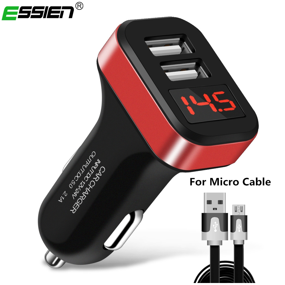 Smart Car Charger 2 USB DUAL Port Adapter Mobile Phone Charging for samsung Xiaomi LED USB Chargers with 1m/2m micro usb cable
