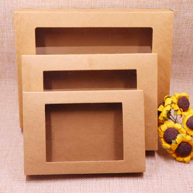 10 Pcs New 2018 New Diy Kraft/Vintage Window Paper Box  /Gift Box Wedding Favourate Box Can Custom Logo  Logo Cost Extra