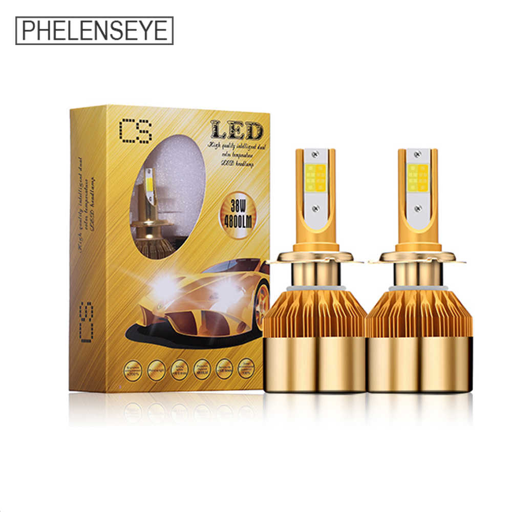 Two Color Spotlight LED Car Headlight Bulbs 6000K 38W 9600LM 12V 24V H3 H4 H7 H11 H3 9005 9006 Auto LED Headlamp Foglight 2PCS
