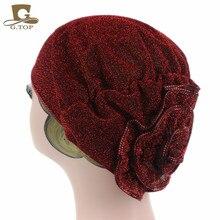 Women metallic  flower Beanie Hat Bonnet Chemo Cap Muslim Scarf Hijab Islamic Turban цена в Москве и Питере