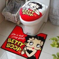 Betty Cartoon Bathroom Set Toilet Set Cover WC Seat Cover Bath Mat Holder Closestool Lid Cover Toilet Seat Cushion 3pcs/set