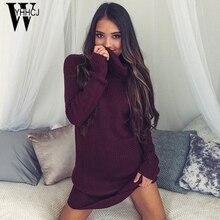 Wyhhcj 2017 тёплая осенне-зимняя обувь платье Водолазка Длинные рукава утепленные женские платья Bodycon обувь для повседневной носки или вечеринки платье халат Femme ETE