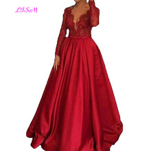 Long Sleeves Lace Appliques Evening Formal Gowns Empire Ball Gown Prom Dresses 2019 New Sexy Deep V-Neck Robe Soiree Dubai