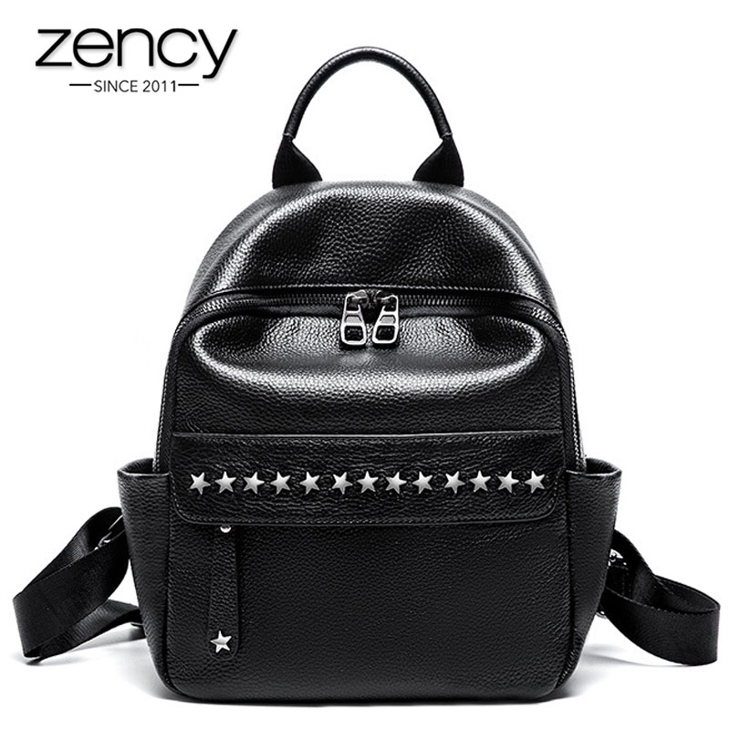 Zency 100 Soft Skin Genuine Leather Fashion Designer Women Backpack Classic Black Knapsack Rivets Travel Bags
