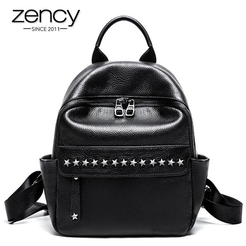 Zency 100% Weiche Haut Aus Echtem Leder Mode Designer Frauen Rucksack Klassische Schwarz Rucksack Nieten Reisetaschen Mädchen der Schul-in Rucksäcke aus Gepäck & Taschen bei  Gruppe 1