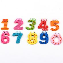10 pcs Cartoon Cute 0-9 Numbers Wooden Fridge Magnet Stickers for Education Learn Cute Kid Baby Toy Christmas Gift(China)