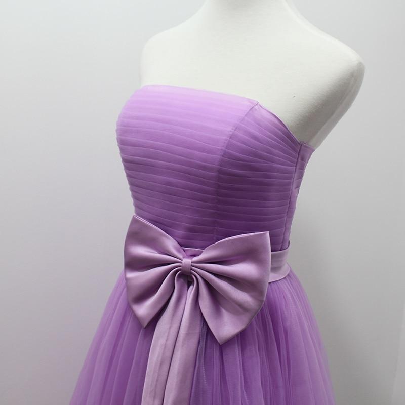 Luz Púrpura Corto Vestido de Dama de honor Con El Arco Plisado Sin ...