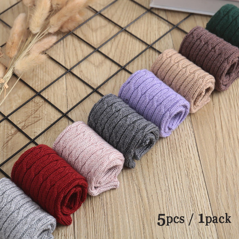 Packaging Sale 5pcs Women Fine Wool Cable Fingerless Gloves Thick Knitted Arm Warmers Thumb-hole Arm Sleeve Wholesale & Retail