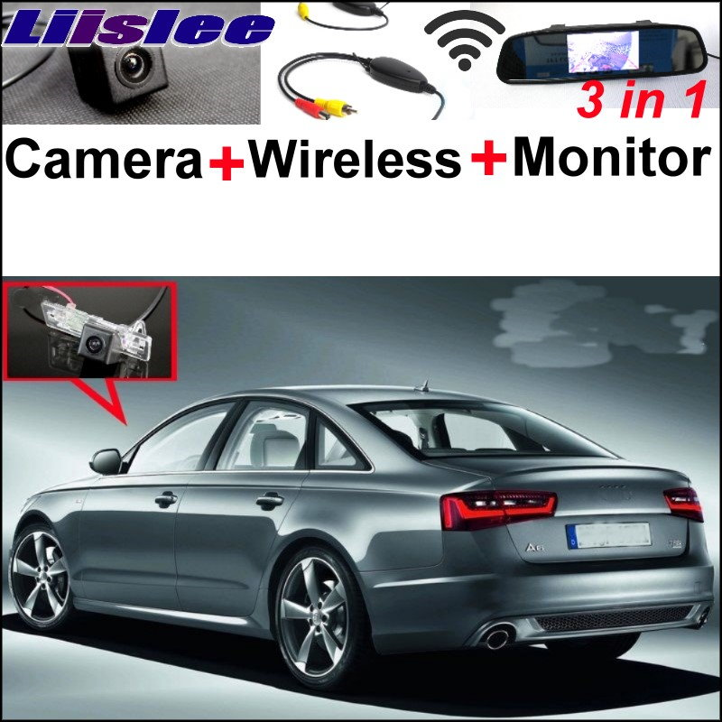 Liislee 3 in 1 Special WiFi Camera Wireless Receiver + Mirror Monitor Easy Rear View Parking System For Audi A6 / S6  2010~2017 3 in1 special rear view camera wireless receiver mirror monitor back up parking system for citroen ds3 ds 3 2009 2015