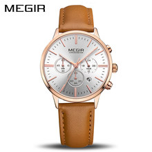 Marque de luxe MEGIR dames montre mode tendance Simple dames montre Quartz Couple montre en cuir étanche sport dames montre(China)