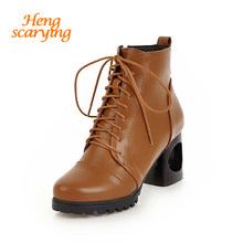 2018 Plus Size Women Ankle Lace Up Punk Combat Boots Winter Snow Boots  Female Fetish 6cm Block Thick Strange Heels Bootee Shoes ece3b12a28ef