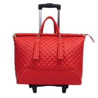 Женская модель 16 дюймов сумки для путешествий чемодан на колесах с Вращающийся Спиннер чемодан из искусственной кожи ручной клади Футляр к