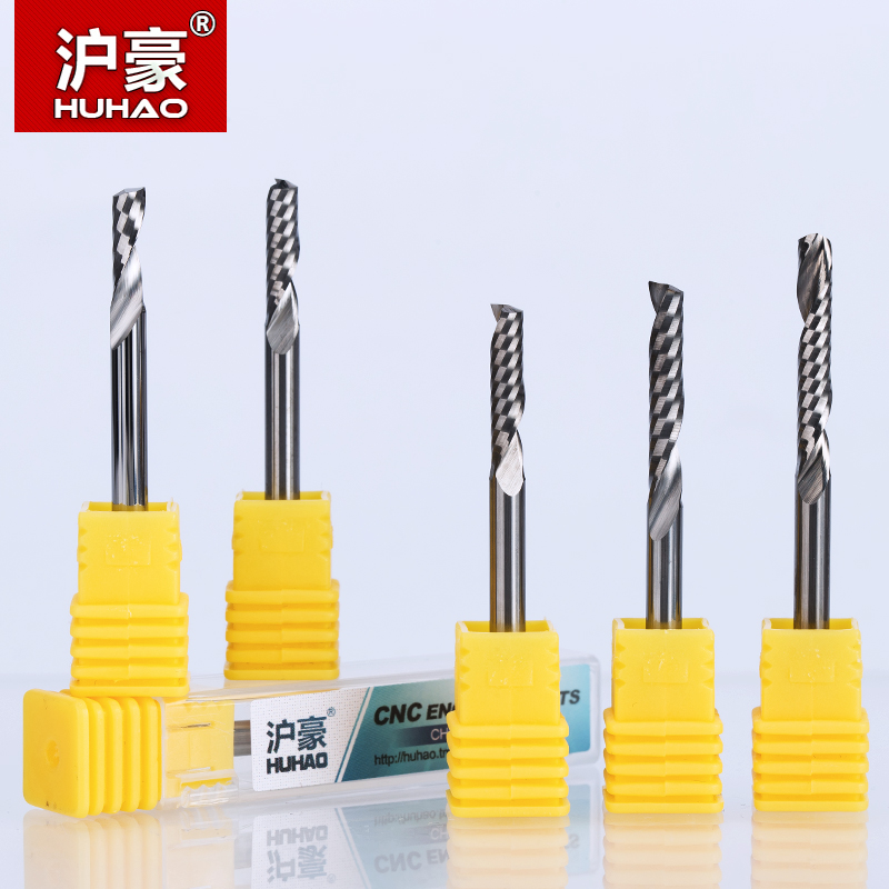 HUHAO 1PC 4mm one Flute Spiral Cutter router bit CNC end mill For MDF carbide milling cutter tugster steel router bits for wood huhao 1pc 6mm one flute spiral engrving bits cnc end mill tungsten carbide router tool pcb milling cutter router bits for wood