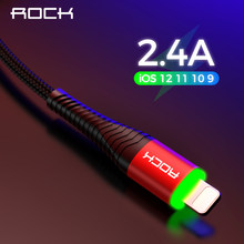 ROCK Metal Led Light USB Cable for iPhone Xs MAX Xr X 8 7 6 6s Plus Fast Charging For iPad 100CM 200CM 50CM Fast Data Charger(China)