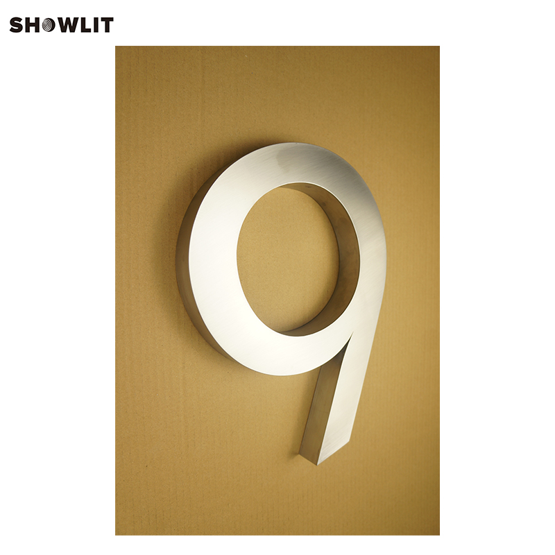 Brushed Stainless Steel Material Custom Made 3D House Numbers For Home Door popular brushed stainless steel led backlit house numbers