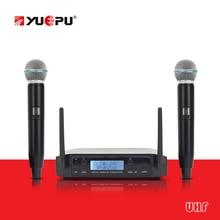 UHF Real! YUEPU RU-D220 Micrófono Profesional Inalámbrico UHF de Dos Canales de Frecuencia Ajustables Ideal Para Iglesia Club de Karaoke