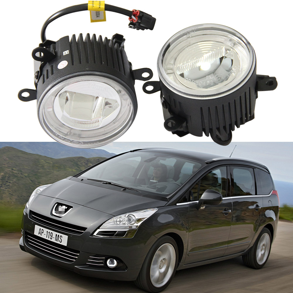 9CM Led Fog Light Headlight 10W Cree chips With Halo ring DRL Lamp For Peugeot 207 307 407 607 5008 12-14 12V Led Drl daylight