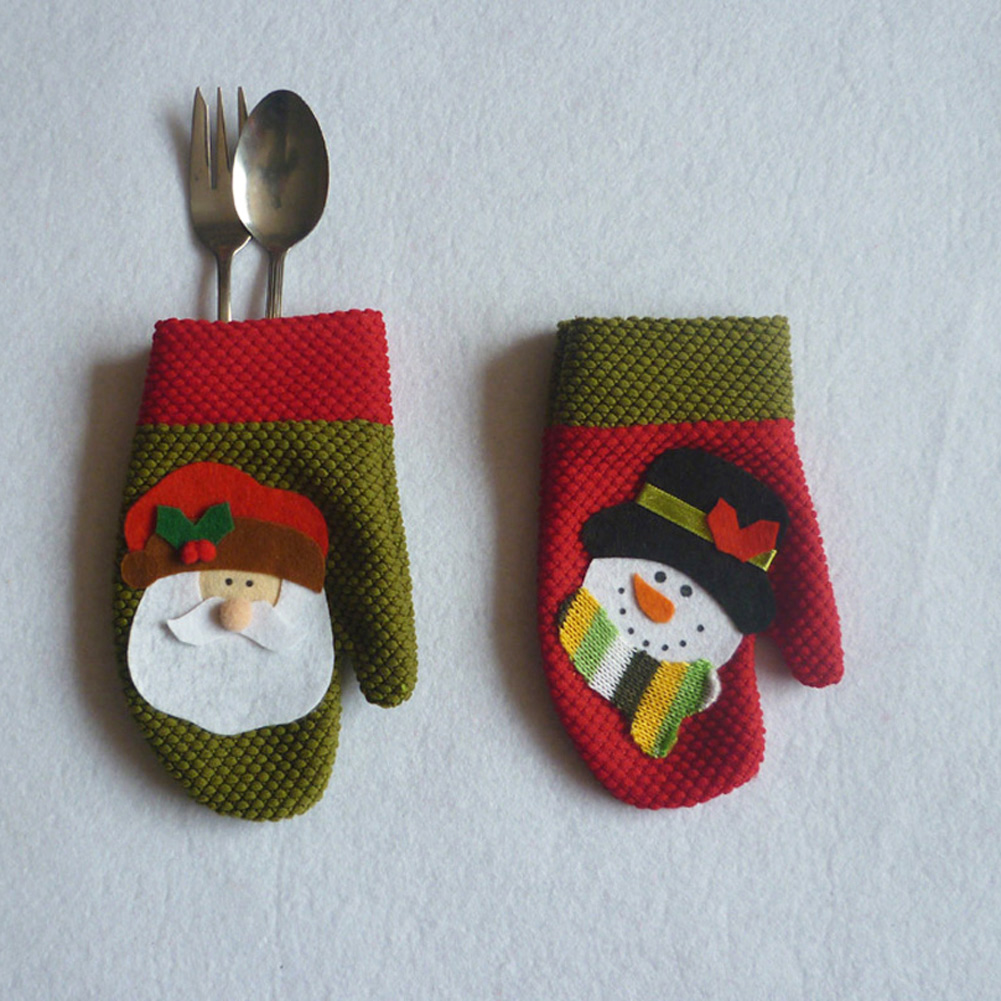 6pcsset Silverware Holder Santa Pockets Dinner Knife Fork Holders Santa Claus Cutlery Set For Christmas Decoration Wholesale