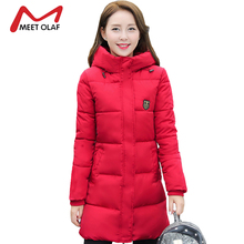 2017 Winter Coat Women Hooded Cotton Padded Parkas Girls Student Wadded Warm Outwear Winter Jackets Female Long Overcoat YL020