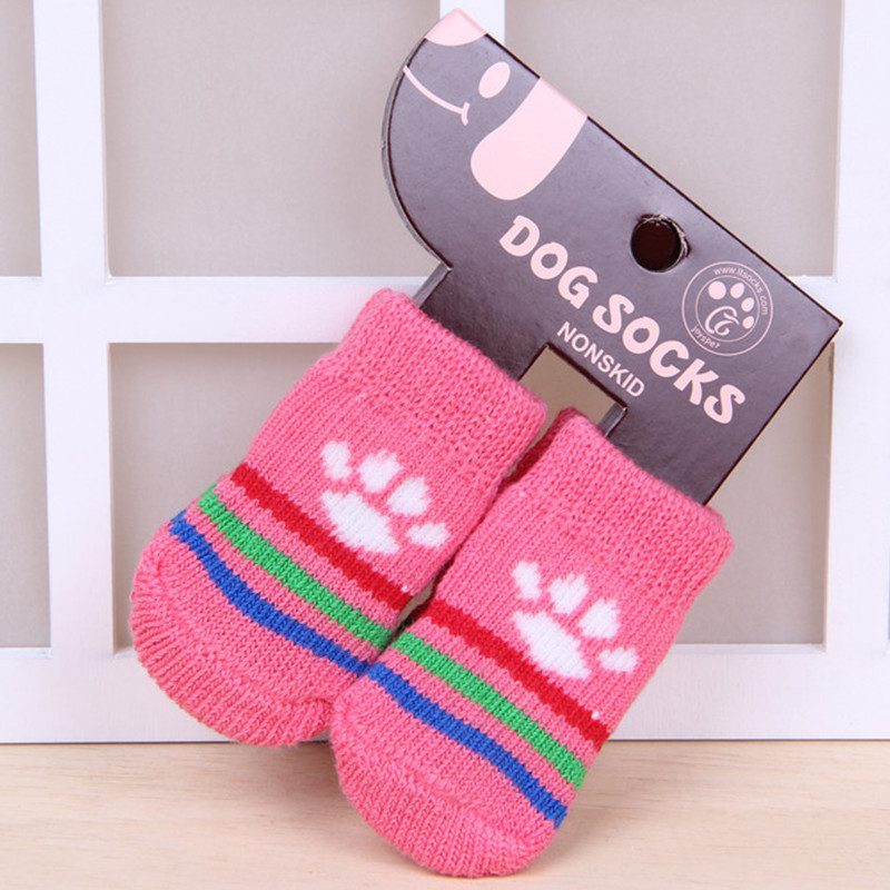Hot Selling 4 PCS/set Small Pet Dog Doggy Shoes Lovely Soft Warm Knitted Socks Clothes Apparels For S-L Random Color