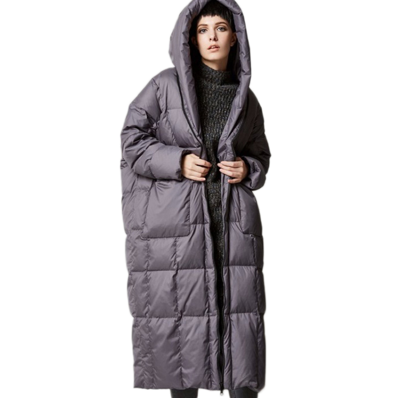 2019 Casual Jacket Thick Cocoon Long-Sleeved Hooded Womens Winter Down Jacket Large Pocket