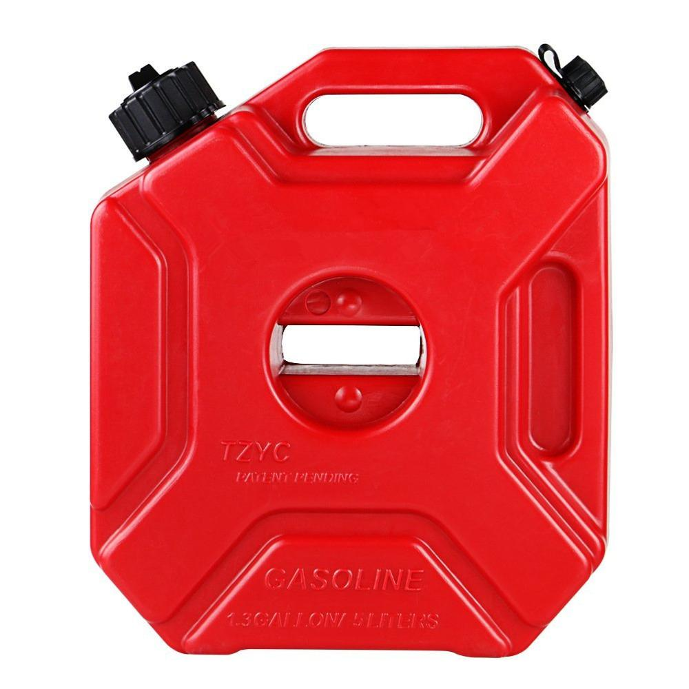 Plastic 5L Jerry Can Car Motorcycle Tool Gasoline Fuel Tank w// Lock+Mounting Kit