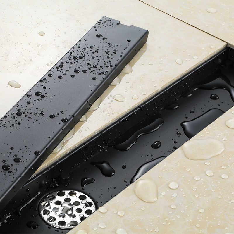 60 سنتيمتر 23.62 بوصة الأسود مقاومة للرائحة غطاء لبالوعة بالأرضية مستطيل الفولاذ المقاوم للصدأ دش شبكة أرضية بالقضبان الحديدية استنزاف خطي الطابق استنزاف
