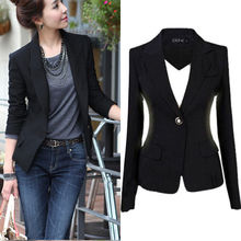 цена на NEW Women Slim One Button Short Blazer Suit Jacket Coat Long Sleeve BLACK