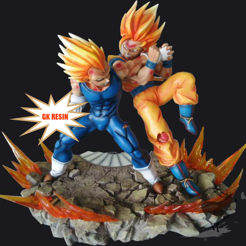 Anime Dragon Ball Z GK Resin Figures Super Saiyan Son Goku VS Vegeta Action Figure collection model toys for gift Brinquedos 6pcs set dragon ball z son goku vegeta broly kakarotto battle ver pvc action figures dragonball figure toys collection model toy