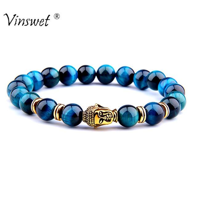 אופנה AAA רויאל כחול עין נמר גברים של צמיד חרוזים טבעי אבן בודהה למתוח גברים נשים תכשיטים 2019