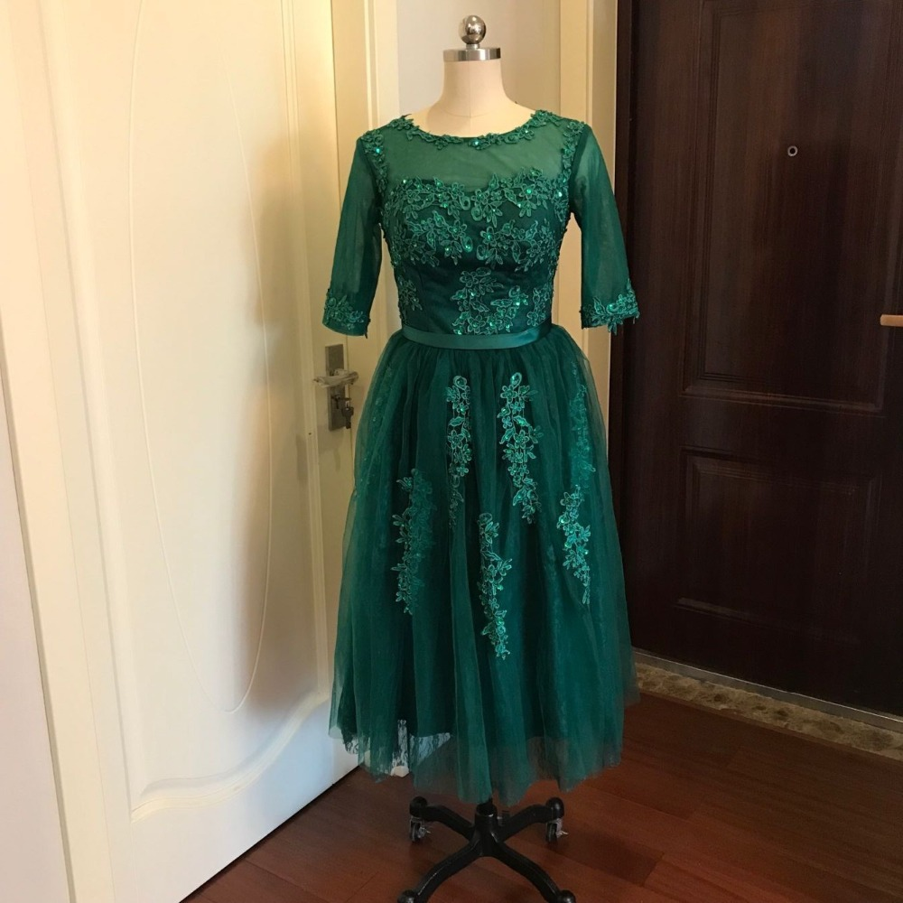 Image 5 - 100% Real Image Hunter Green Women Evening Dresses Lace with Bow  Half Sleeves Beaded Party Prom Latest Evening Gown Designsdresses for  skinny girlslace orangelace backless wedding dress