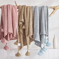 New Blanket Cotton Nordic Wind Spring and Summer Blankets Blankets Thick Wool Knit Line Blanket