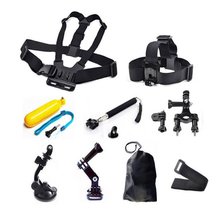9 in 1 Camera Accessories Set Kit Bike Motorcycle Handlebar Seatpost Pole Mount Chest Head Mount Strap Floating Selfie stick Bag